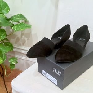 Eileen Fisher Hilly D'Orsay Black Suede Shoes 6.5